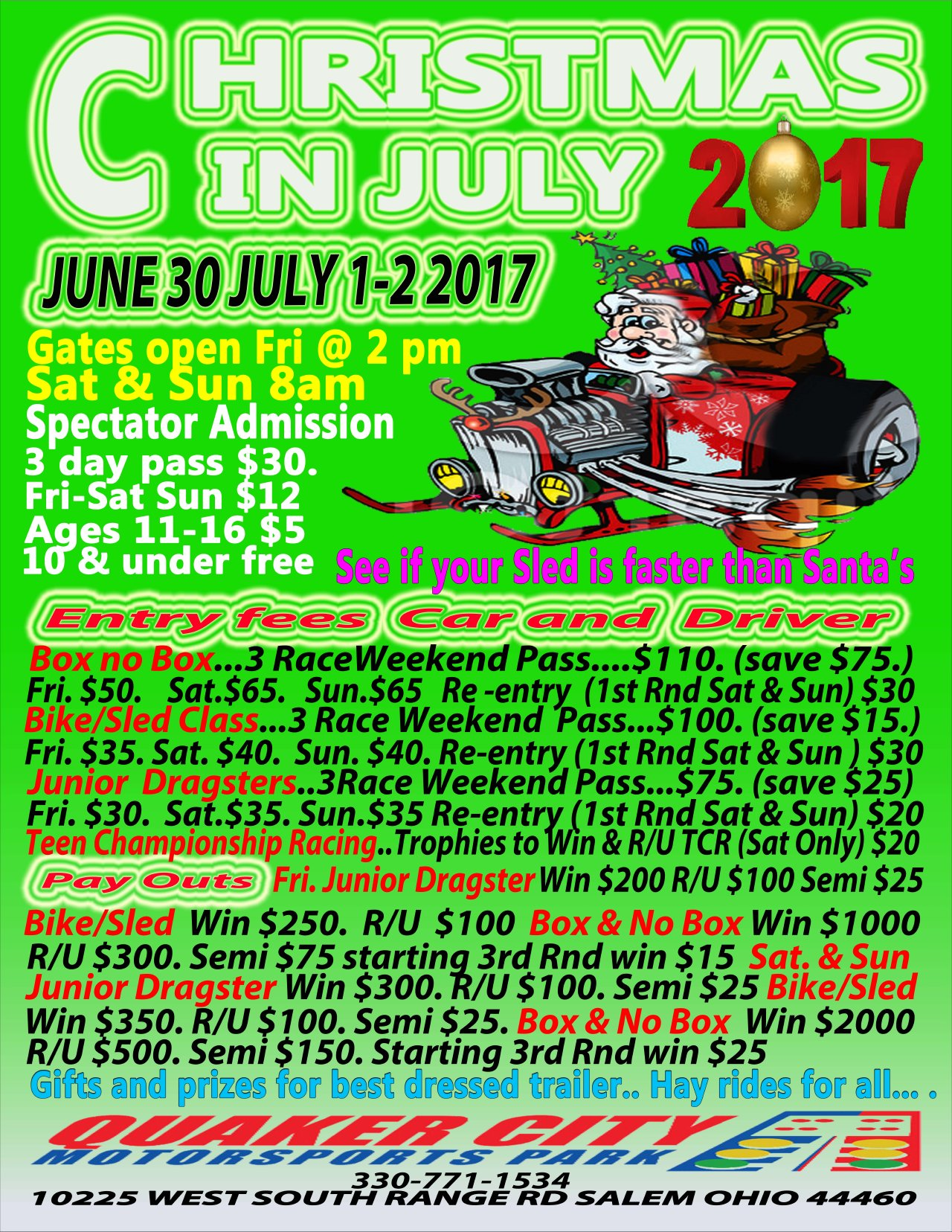 2017 CHRISTMAS IN JULY JUNE 30 JULY 1 JULY 2 Quaker City